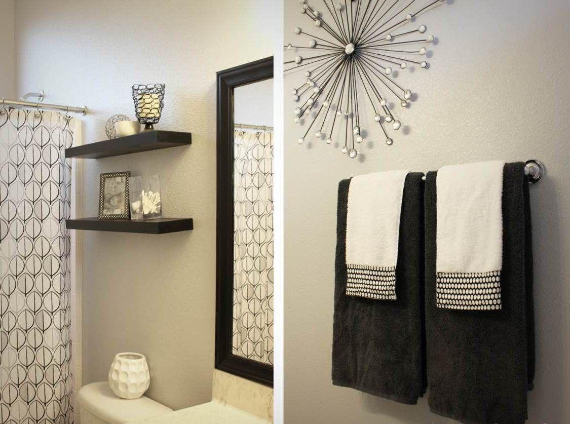 Bathroom decor black and white - Brown And White Bathroom Decor