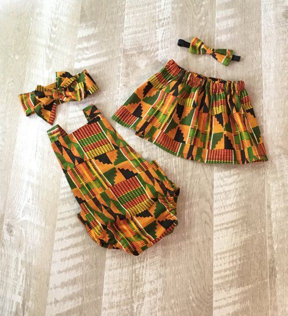 519f8a71a059 Kente African Big Sister Little Sister Skirt and Romper Set