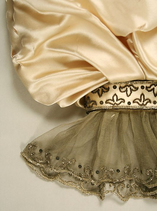Dress, Evening.  House of Worth  (French, 1858–1956).  Date: 1895–96. Culture: French. Medium: silk. Sleeve detail.