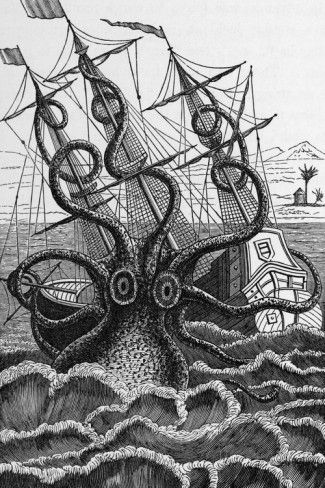 Octopus Attacking a Ship Print by Middle Temple Library at AllPosters.com
