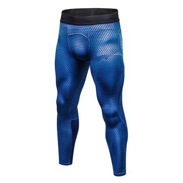 Mens PRO Quick-drying High-elastic 3D Printed Skinny Legging Jogging Training Sport Pants