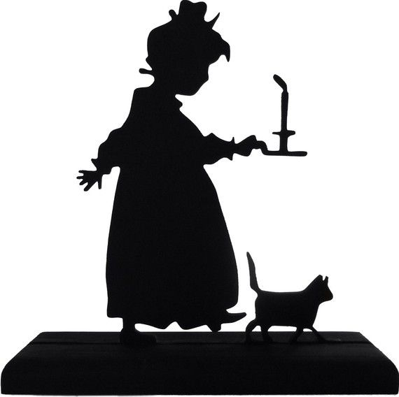 Girl Cat And Candle Going To Bed Handmade Wood Display