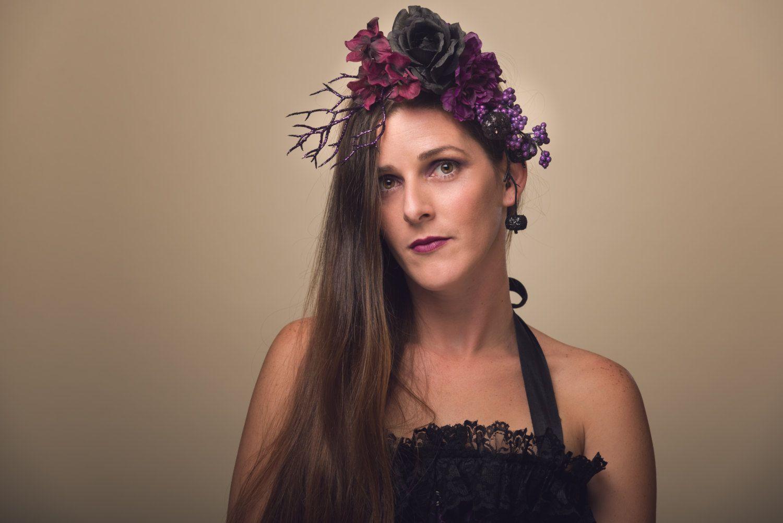 Samhain - Black Purple Halloween Flower Headdress Dark Glitter Rose Fascinator Gothic Voodoo Costume Headpiece Floral Crown Accessory - pinned by pin4etsy.com