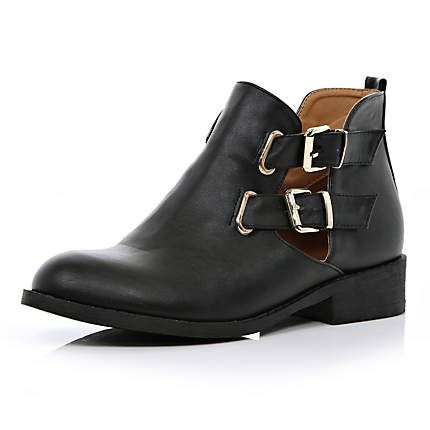 Black cut out buckle side Chelsea boots - ankle boots - shoes ...