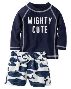 2220c4f4d9 Carter's 2-Piece Mighty Cute Rashguard Set | Baby Boy Stuff | Baby boy  swimwear, Boys swimwear, Carters baby boys