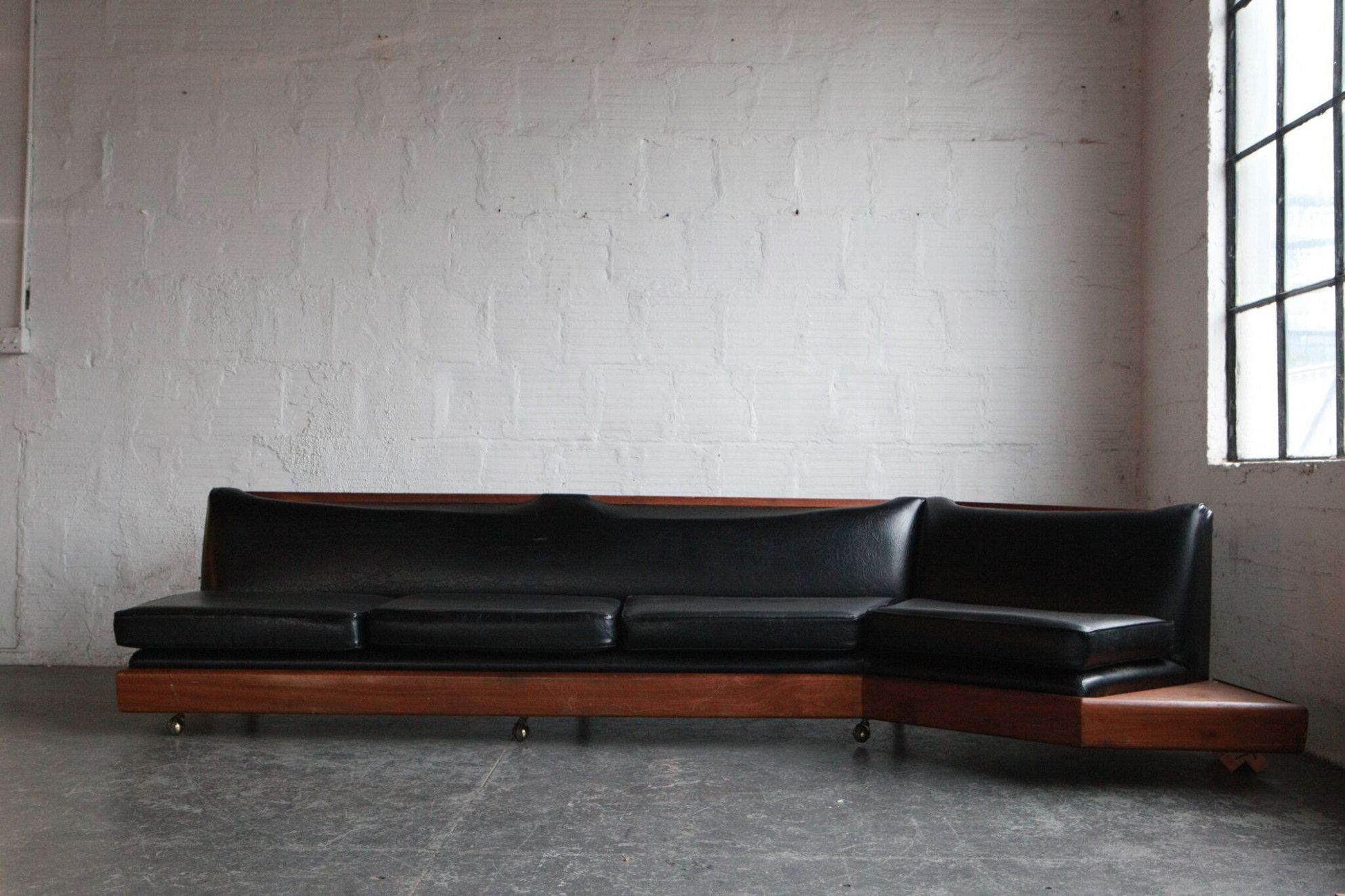 Magnificent Mid Century Modern Leather Couch