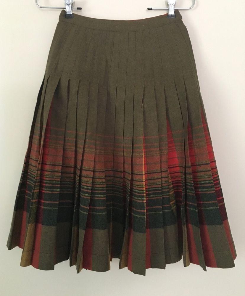 c15f0e905 Pendleton Wool Red Orange Green Plaid Pleated Reversible Turnabout Skirt Sz  0 XS #Pendleton #Pleated
