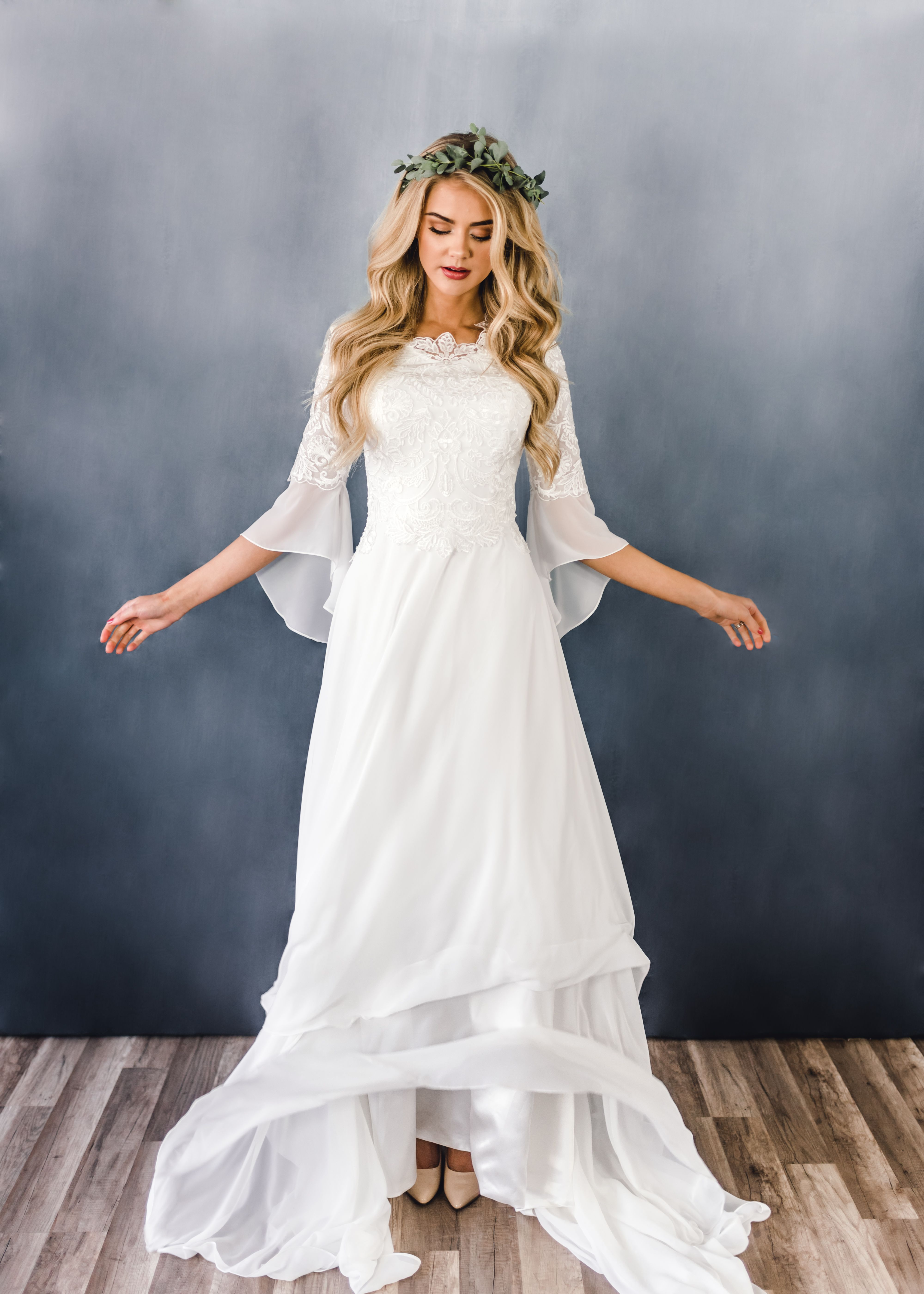 Amelia Gown Transcendent Collection Beautifully Dunn Photograph Modest Wedding Dresses With Sleeves Bell Sleeve Wedding Dress Lace Wedding Dress With Sleeves