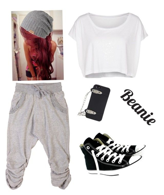 """""""Chill"""" by yallknowwho ❤ liked on Polyvore featuring American Apparel, BCBGMAXAZRIA, Barts, Converse and beanie"""