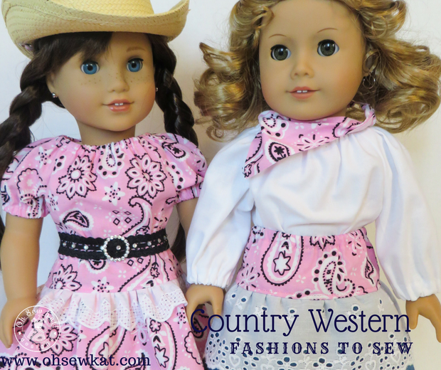 Step it Up Series: Add Lace to a Ruffled Skirt Tutorial (Pattern Hack) for a Country Western Outfit for your Dolls #dollclothes