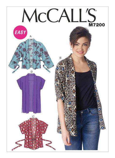 McCall\'s 7200:Misses\' loose-fitting, unlined kimono jackets have ...