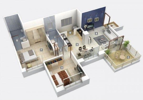 2 Bedroom Apartment House Plans House Plans Apartment Plans Bedroom House Plans