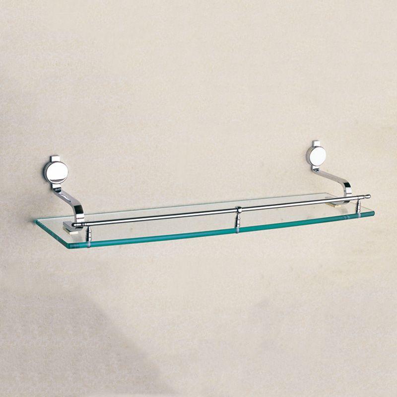 Chrome Single Glass Shelf Brass Strong Wall Mounted Bath Room Corner