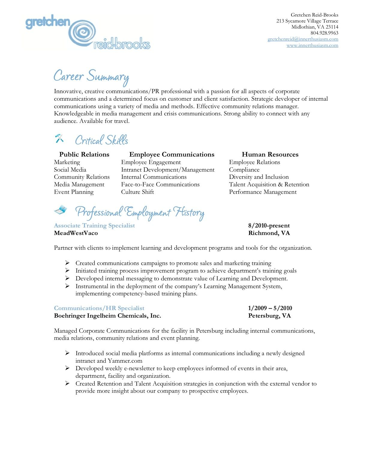 Innerthusiasm Welcome Innerthusiasm Resume Job Hunting Creative Communications
