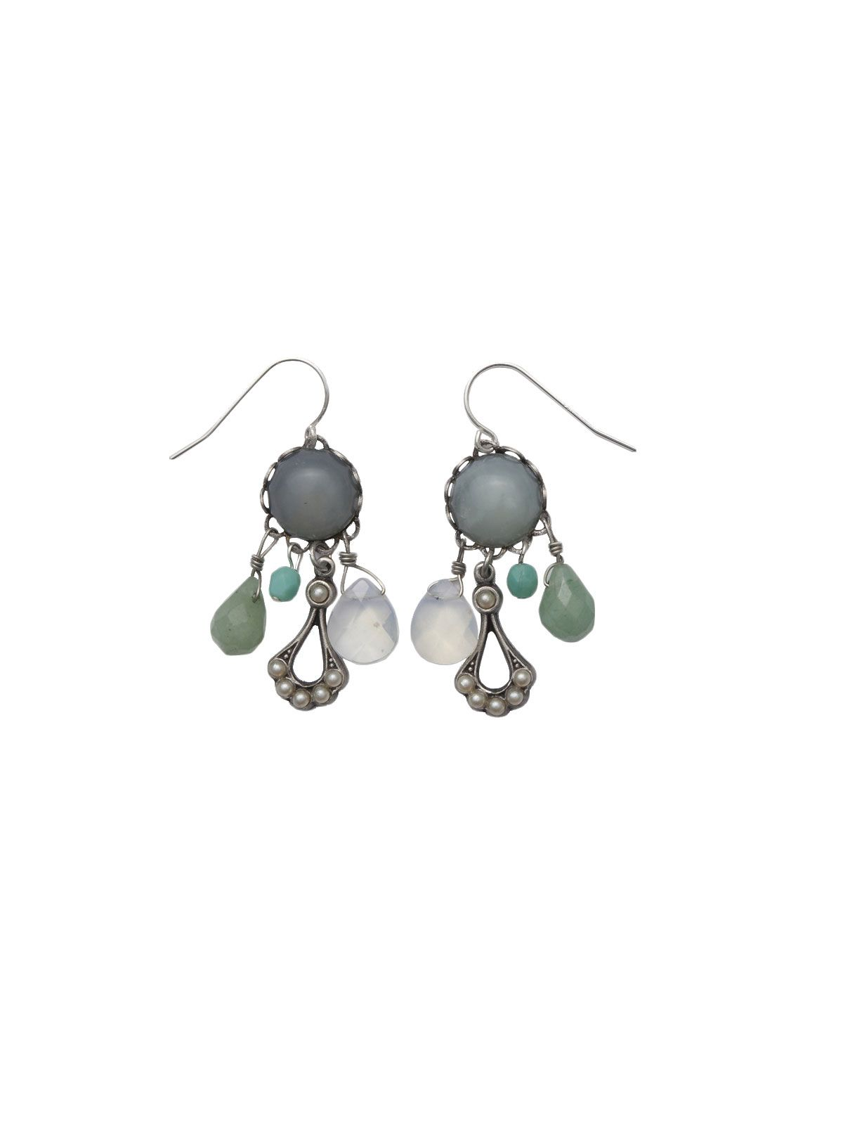 Stunning new jade cabochon with drops of faceted sea glass, turquoise, aventurine, and glass pearls lend variety to this lovely nod to the past.