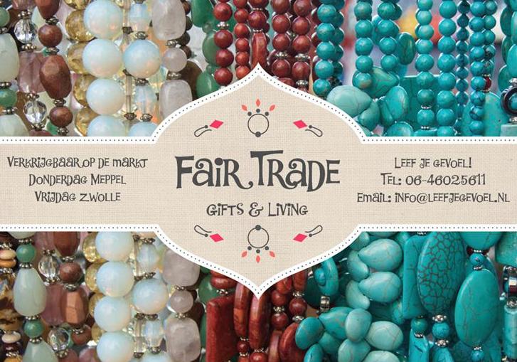 Fair Trade flyer. Produkten verkrijgbaar op de markt in Zwolle en Meppel.