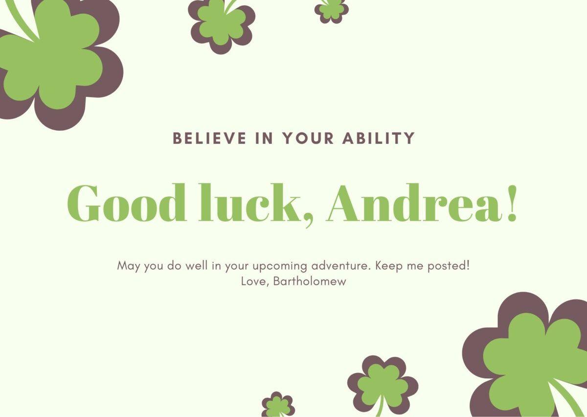 Green And Yellow Shamrock Good Luck Card Templatescanva With Good Luck Card Templates Good Luck Cards Goodbye And Good Luck Holiday Card Template