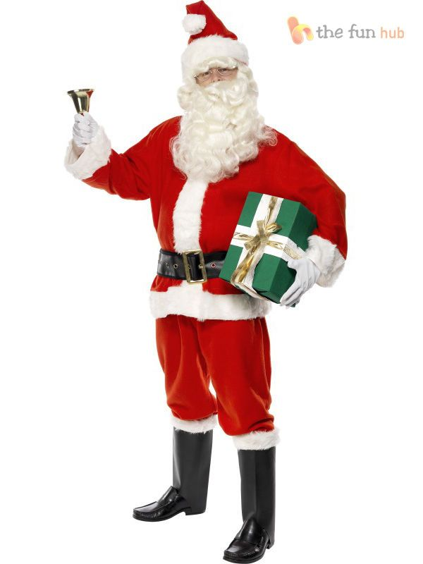 Mens Santa Claus Suit Father Christmas Costume Festive Xmas Outfit