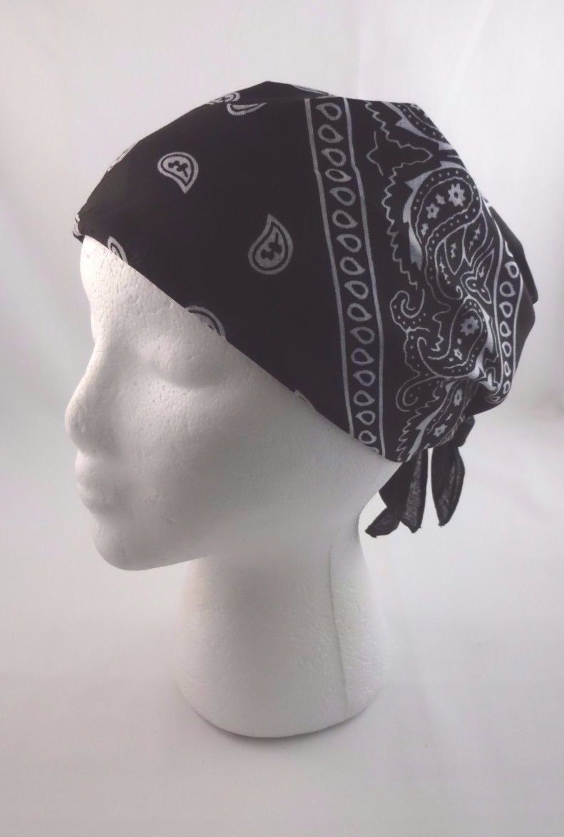 Black Bandanna Scarf Head Wrap Headband Paisley White Print Square Scarf