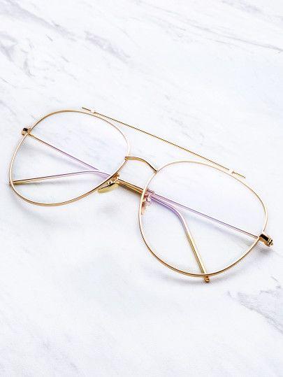 d1154c5cee Gafas de sol doble puente con marco dorado y lentes transparente ...