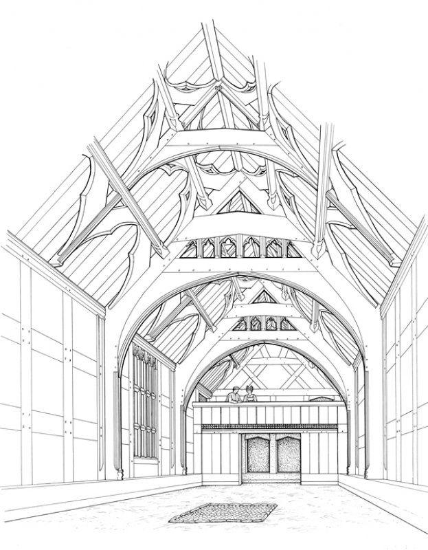 Manor House Drawing: Bryndraenog Medieval Hall House