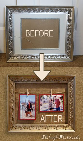 Diy Twine Clothespin Picture Frame Makeover Picture Frame Crafts Picture Frame Decor Clothespin Picture Frames