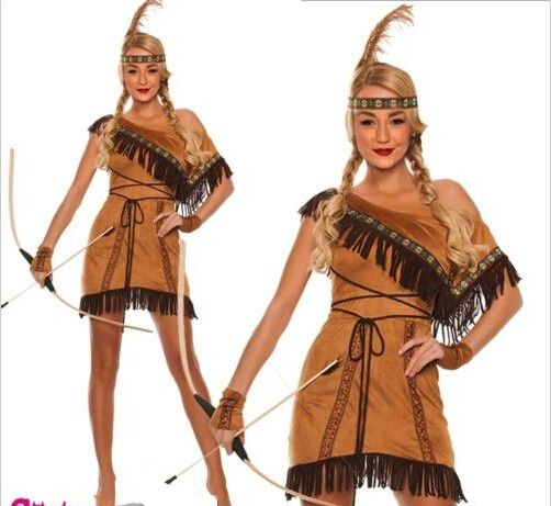 Ladies Deluxe Native Indian American Wild West Squaw Fancy Dress Costume Outfit