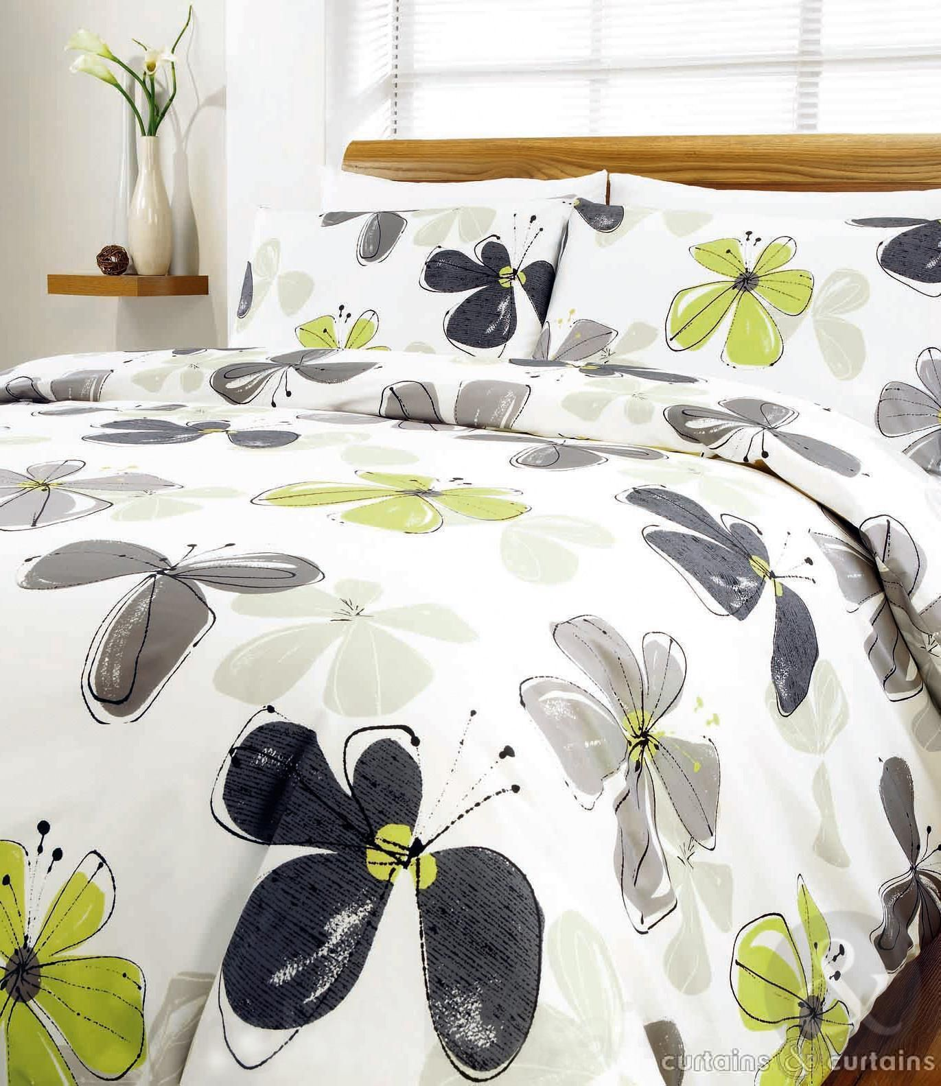 lime green fresca floral printed duvet cover - bedding uk