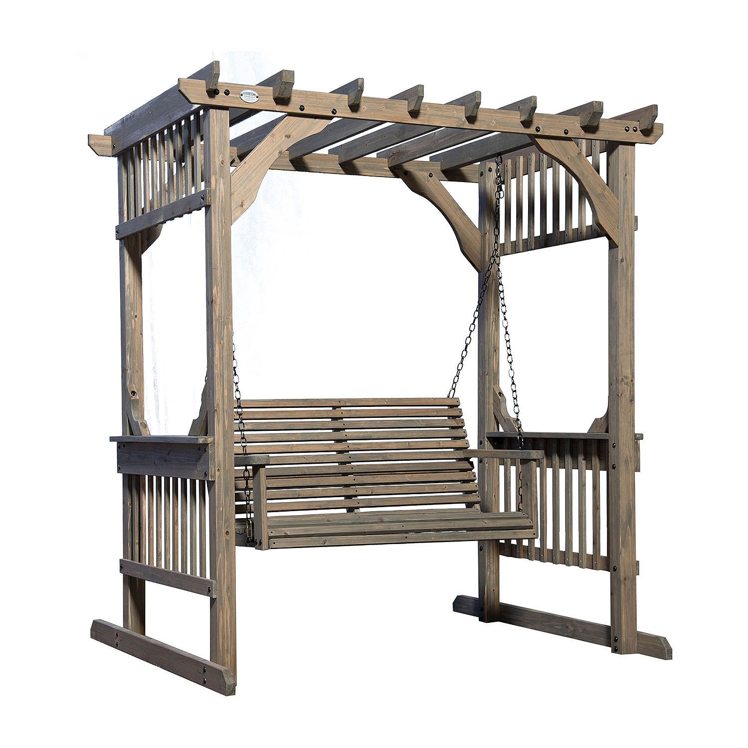 Backyard Discovery Hanging Pergola Swing In Barnstain Finish Pergola Swing Pergola Pergola Attached To House