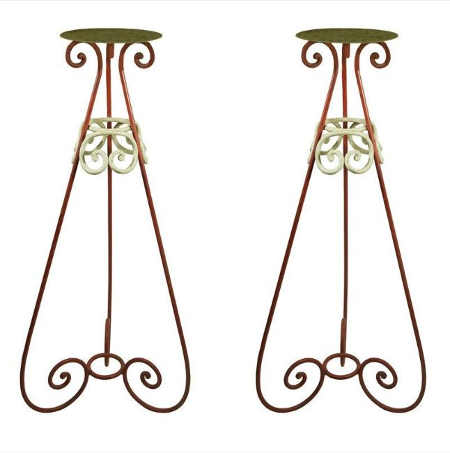 vintage iron plant stand   Pair antique Art Deco iron plant 49 tall plant stands - For Sale