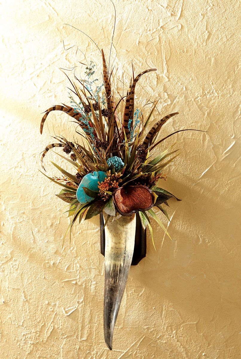 Floral & Pheasant Feathers Horn Wall Hanging | Pheasant feathers ...