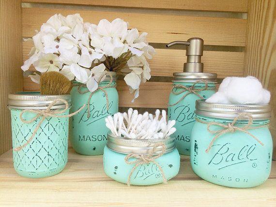 Photo of Mason Jar Bathroom Set, Mason Jar Decor, Bathroom Decor, Bridal Shower Gift, Soap Dispenser, Country Decor, Housewarming Gift, Rustic Bath