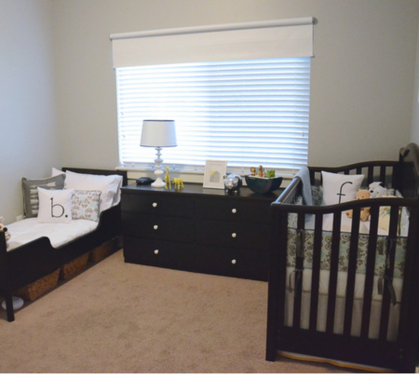 Simple Shared Bedroom For A Toddler And Baby While On A Budget