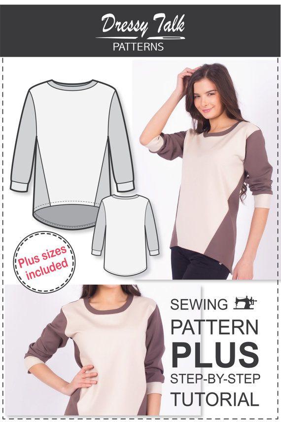 Sweatshirt Pattern Sewing Patterns Plus от DressyTalkPatterns ...