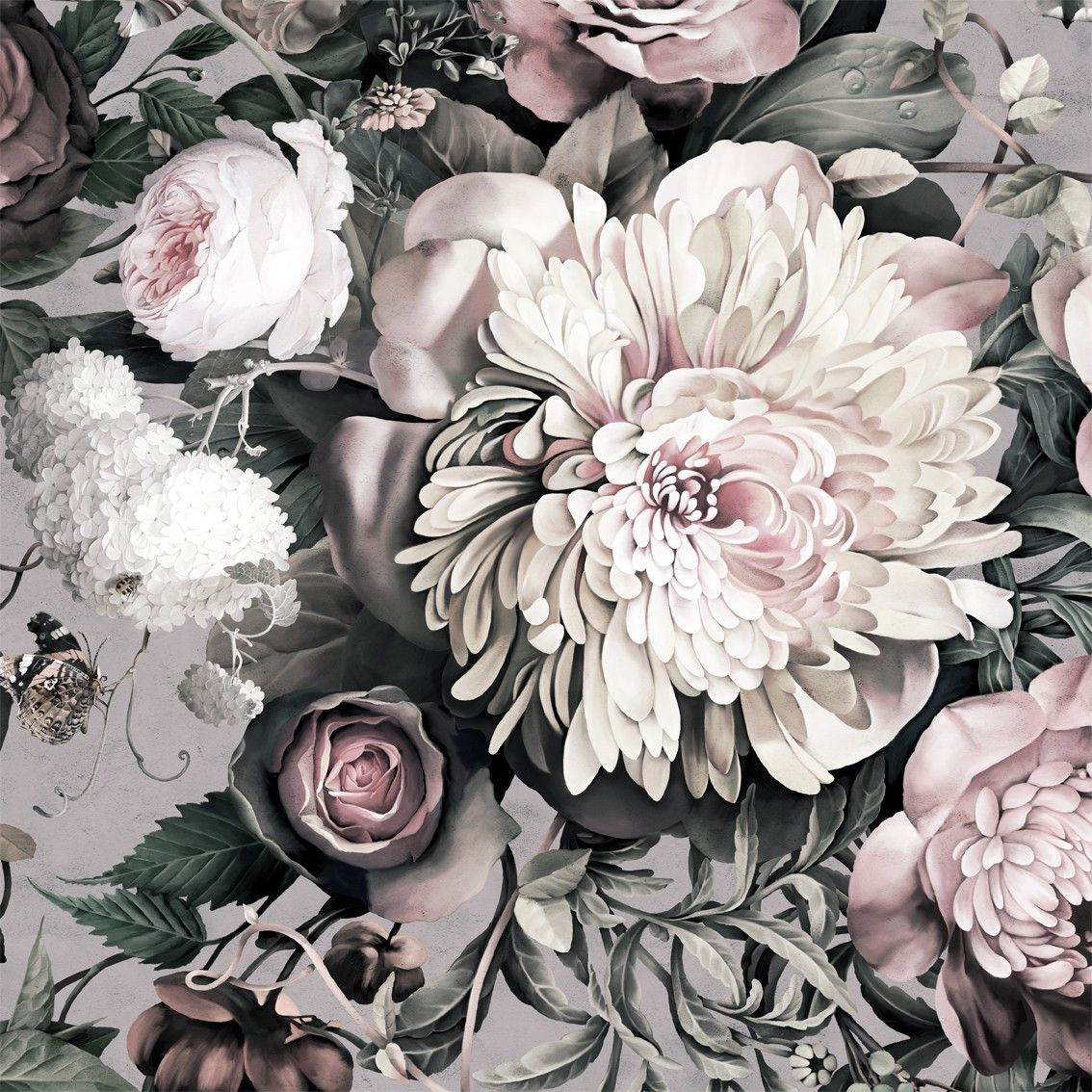Dark Floral Ii Gray Fresco Floral Wallpaper By Ellie Cashman