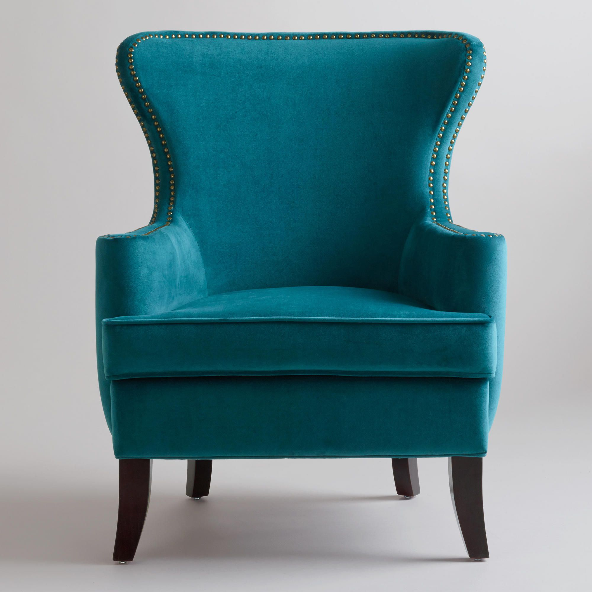 Pacific Blue Elliott Wingback Chair at Cost Plus World ...