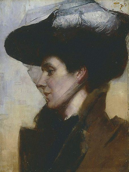 "An image of Eileen by Tom Roberts / Signed and dated l.l. corner, brown oil ""Tom Roberts/ 1892"""