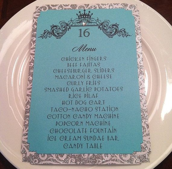 Sample Sweet 16 Birthday Menu By BellaMEvents On Etsy, $2