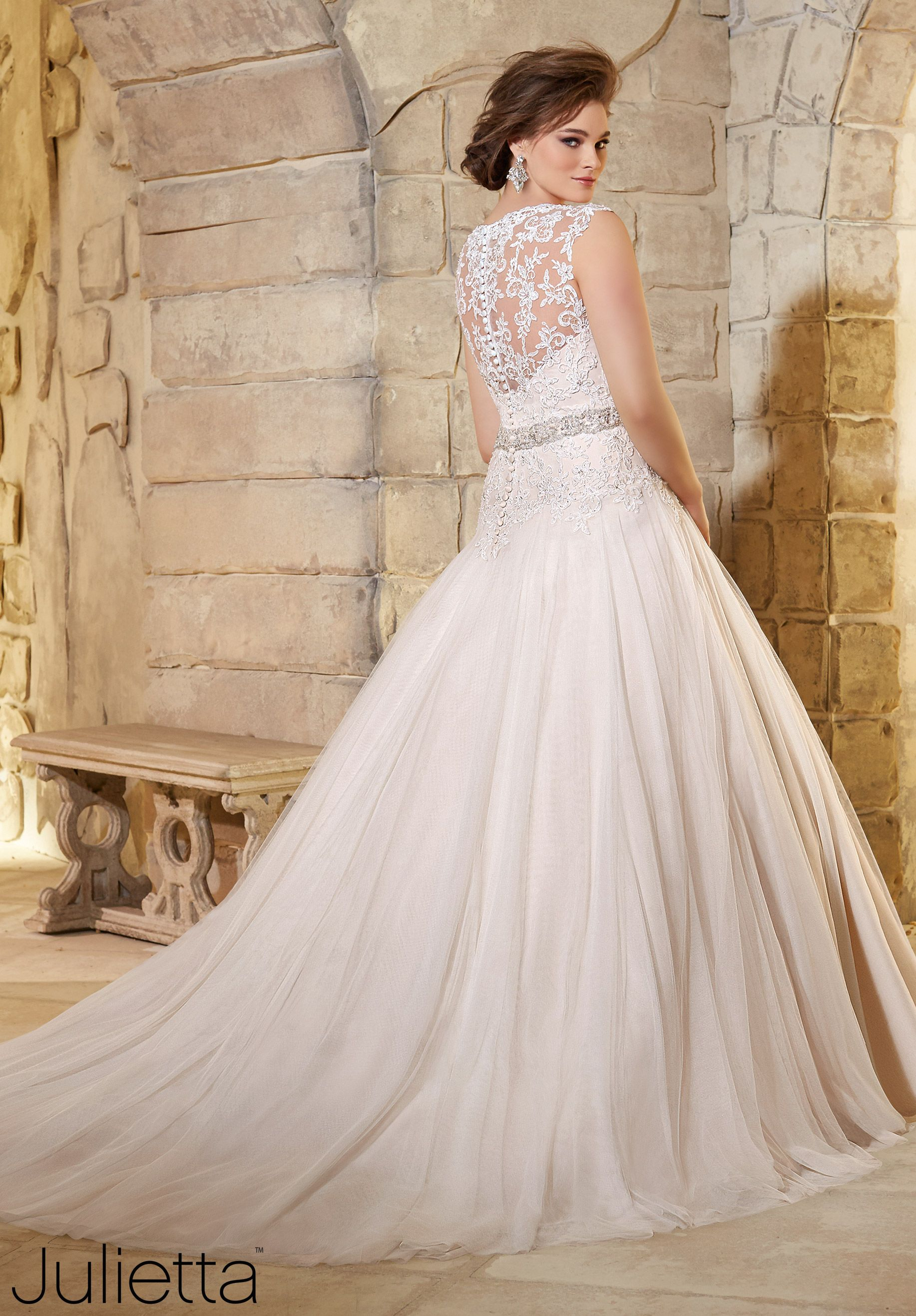 5e6ec4ea7b96 Plus Size Wedding Dresses 3181 Embroidered Lace Appliques on Soft Net with  Crystal Beading