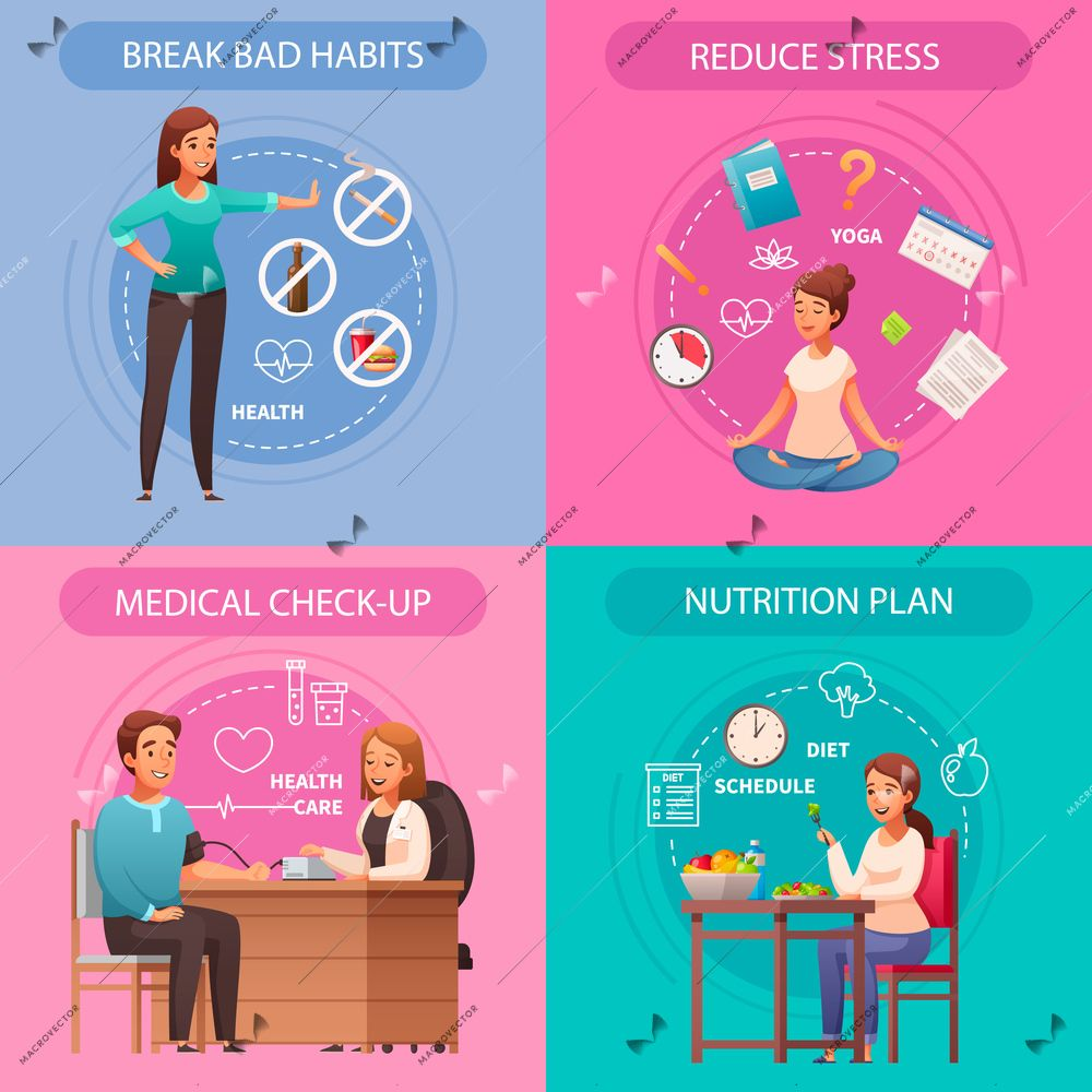Healthy lifestyle concept 4 cartoon compositions with bad