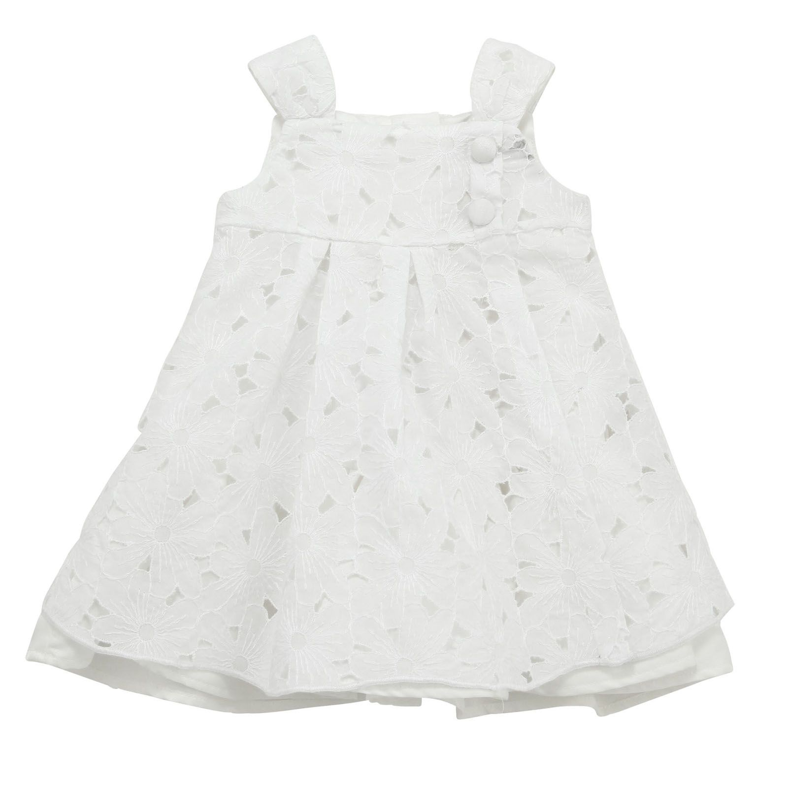White Dress With Flower Shaped Openwork Patterns Straps And Square