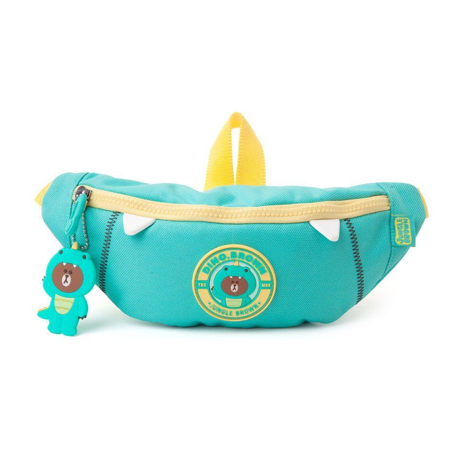 e3f5725623 LINE FRIENDS Character DINO BROWN Kids Waist Fanny Pack Official Goods   LINEFRIENDS