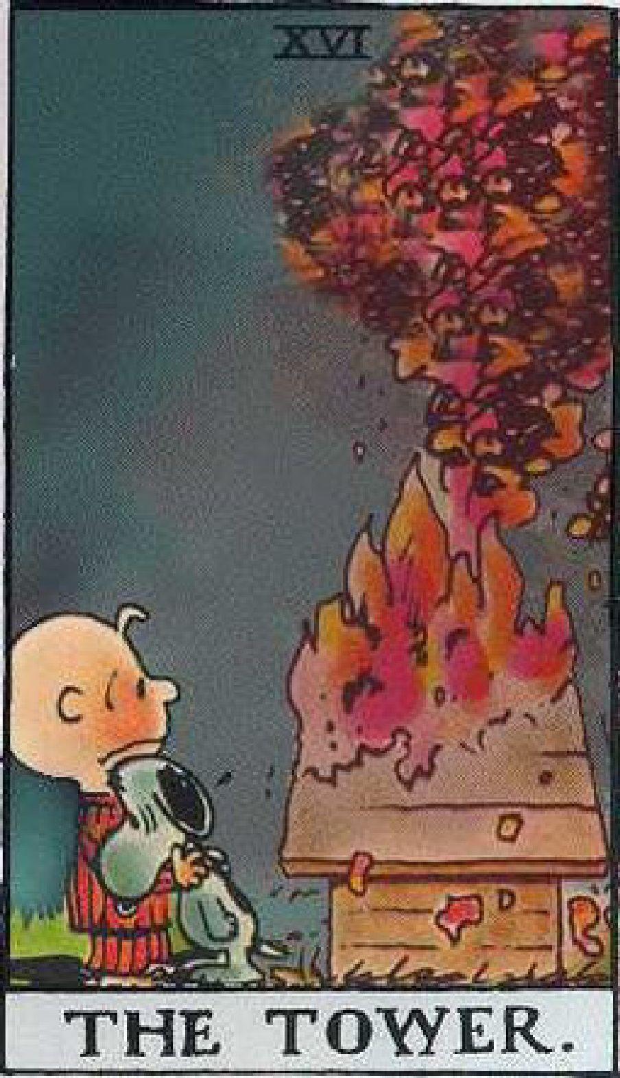 Peanuts Tarot: XVI-The Tower Tarot Card
