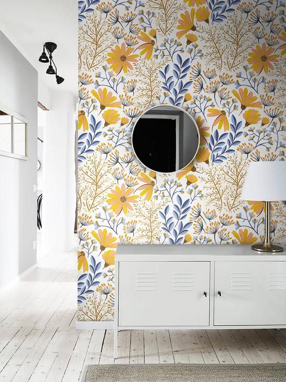 Bohemian Spring Removable Wallpaper Floral Wallpaper Etsy Traditional Wall Decor Removable Wallpaper Floral Wallpaper