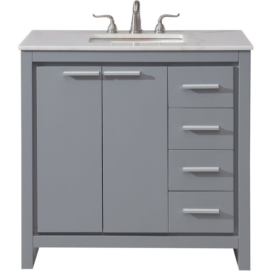 Filipo 36 X 35 4 Drawer 2 Door Vanity Cabinet Grey Finish Vf12836gr Single Bathroom Vanity Vanity Elegant Decor