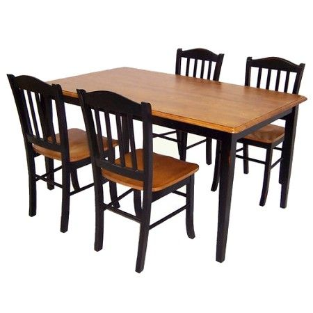 5 Piece Shaker Dining Set Wood Black Oak Boraam Industries