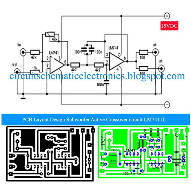 wiring diagram for guitar tone control subwoofer active crossover with lm741 ic idea sound