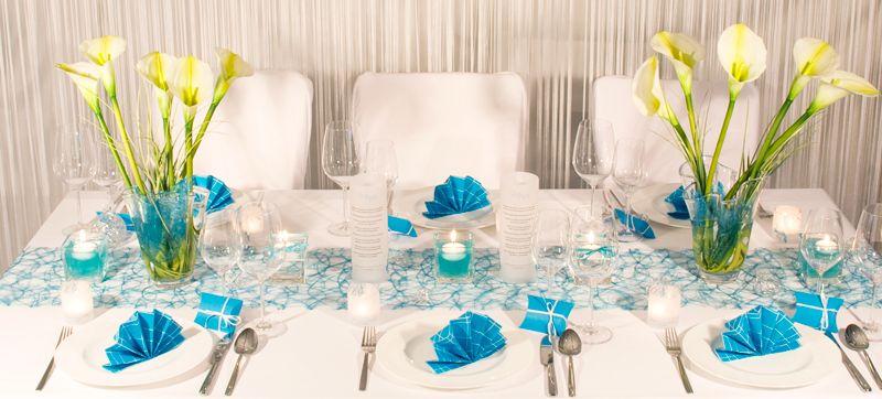 Konzept fr eine Hochzeitstafel  Tischdekoration Trkis
