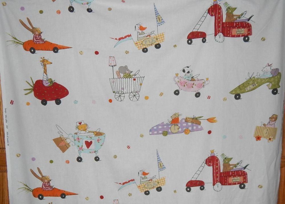 Ikea juvenile cotton print fabric OOP anthropomorphic animal cars 3