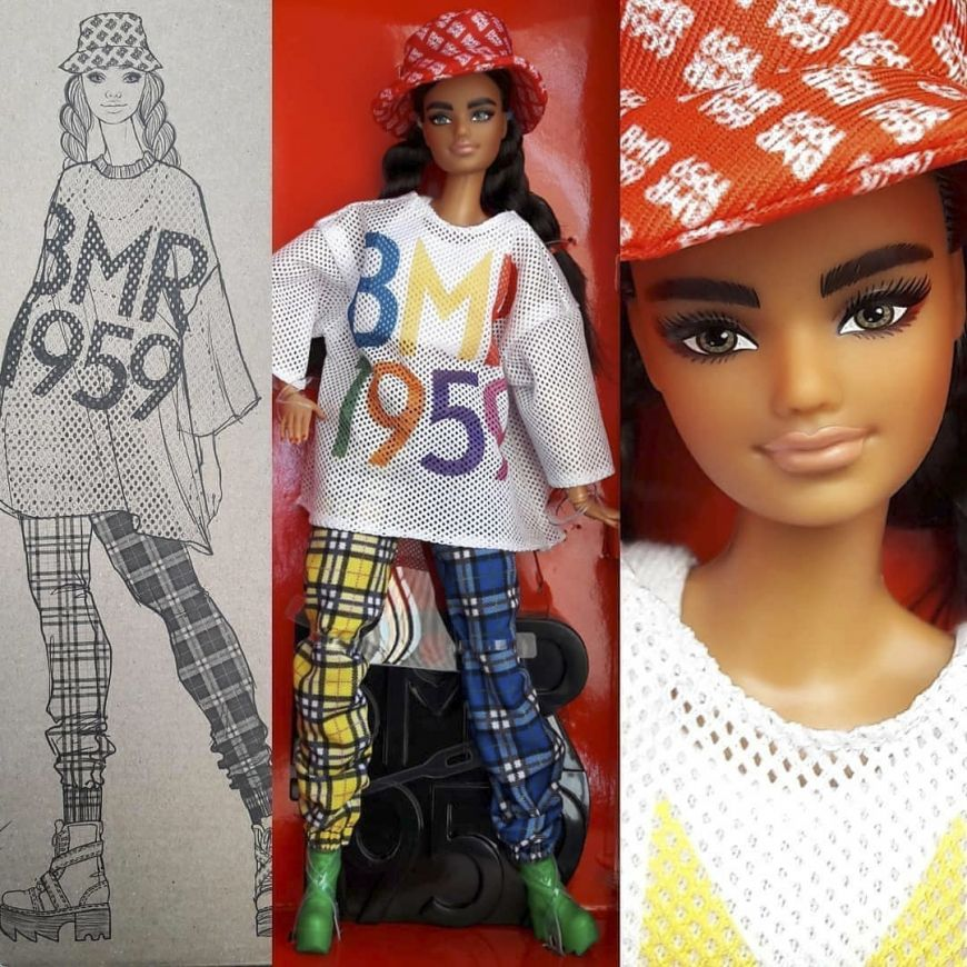PANTS ~MATTEL BARBIE DOLL TALL MADE TO MOVE BMR1959 BLACK WHITE SHORTS CLOTHING
